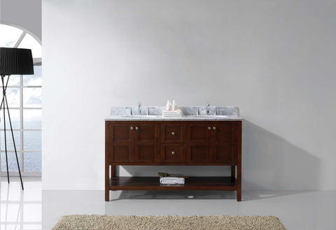 "Virtu USA Winterfell 60"" Double Bathroom Vanity Cabinet Set in Cherry"