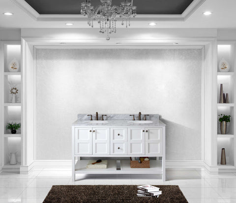 "Virtu USA Winterfell 60"" Double Bathroom Vanity Cabinet Set in White"