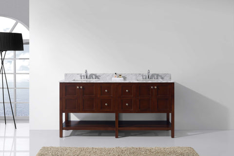 "Virtu USA Winterfell 72"" Double Bathroom Vanity Cabinet Set in Cherry"