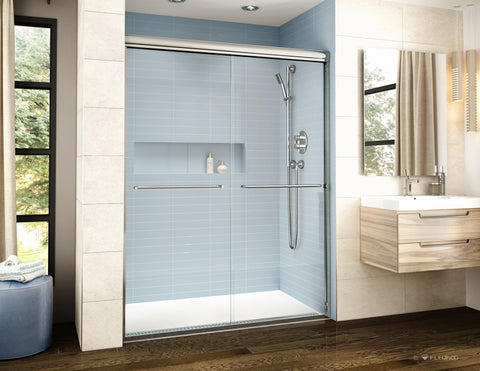 BANYO, CORDOBA PLUS 10mm In-Line Bypass, Brushed Nickel, 48, Clear Glass