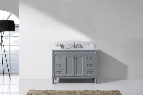 "Virtu USA Tiffany 48"" Single Bathroom Vanity Cabinet Set in Grey"
