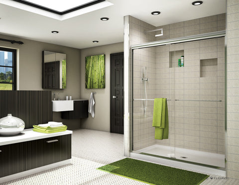 BANYO, CORDOBA In-Line Bypass, Chrome, 48, Clear Glass