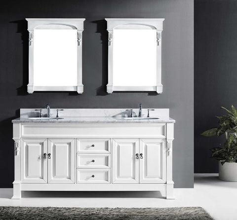 "Virtu USA Huntshire 72"" Double Bathroom Vanity Cabinet Set in White"