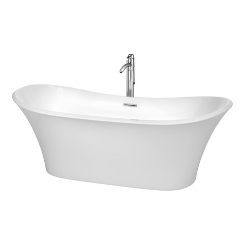 71 inch Soaking Bathtub in White, Polished Chrome Trim, and Polished Chrome Floor Mounted Faucet