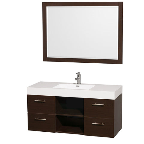 "36"" Single Vanity in Espresso + Acrylic-Resin Top + Integrated sink"