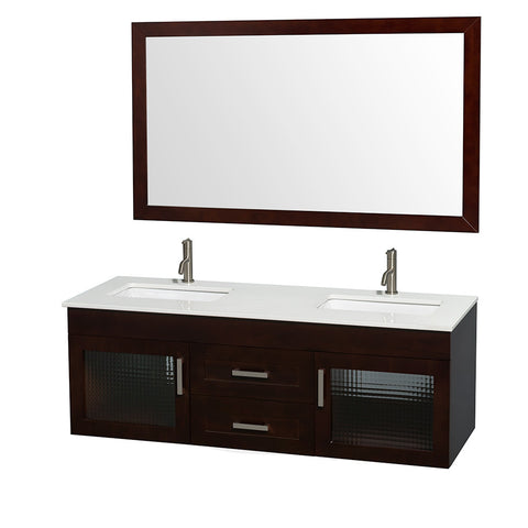 60 in. Double Bathroom Vanity in Espresso, Marble Top, Undermount Sink