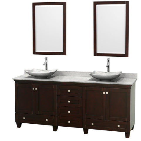 "Wyndham Acclaim 80"" Double Bathroom Vanity in Espresso WCV800080DESCMGS6M24"