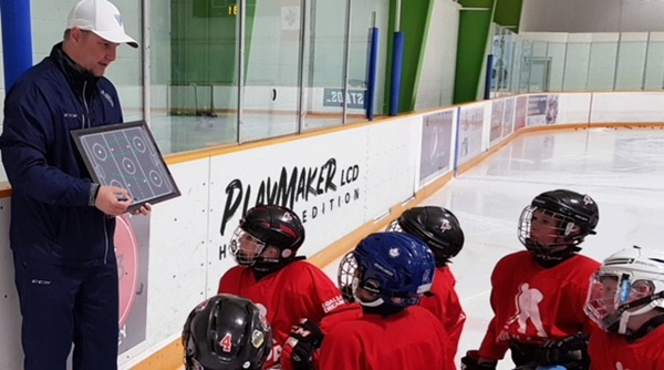 Playmaker LCD Hockey Coaches Board In Use