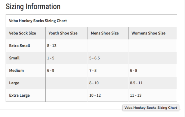 Hockey Compression Socks Size Chart