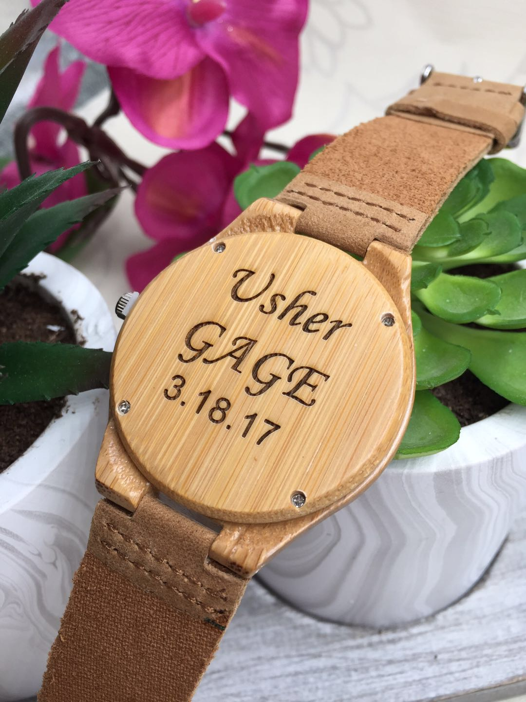 Men Wooden Quartz Watch With Constellation Christmas Gift Groomsmen Gift 002