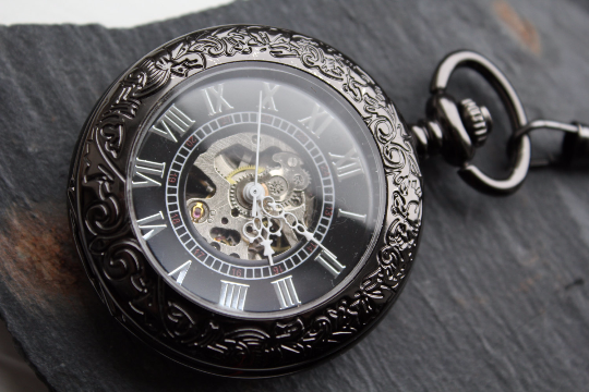 Premium Victorian Black & Silver Mechanical Pocket Watch with Watch Chain - Groomsmen Gift - Engravable - Custom Watch MPW030