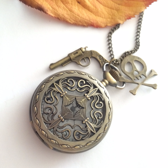 Steampunk Pocket Watch necklace Cross - Caribbean  pirates-gun-skull charms