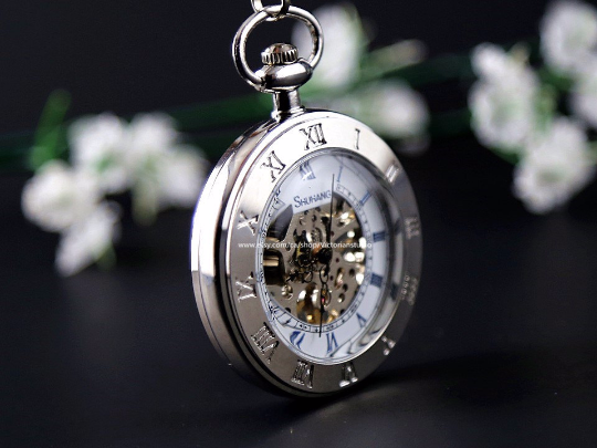 Wedding Gift Silver Pocket Watch Skeleton Mechanical Pocketwatch with Vest Chain Personalized Wedding Gift for Groom Groomsmen MPW036