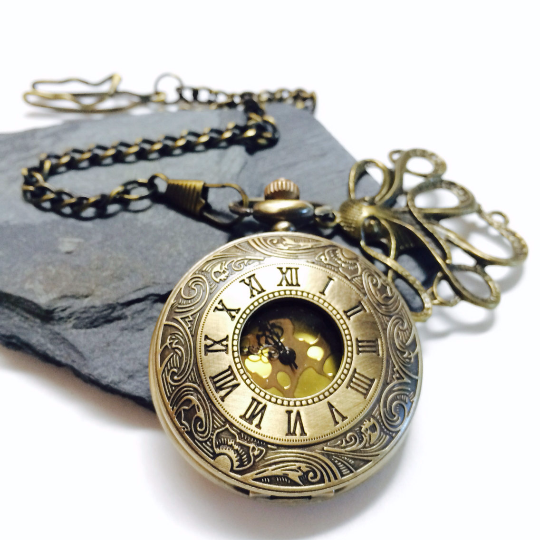 Pocket watches with Chain Bronze Quartz PocketWatch Steampunk Gift for Groomsmen