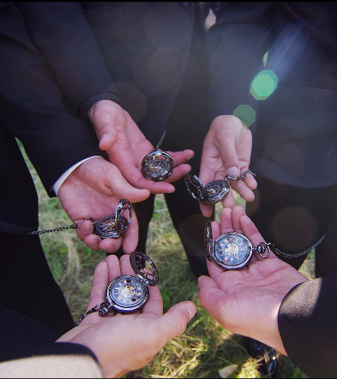 Groomsmen Gift Wedding Gift Antique Black Mechanical Pocket Watch Wedding Gift Set Gunmetal Black Pocket watch Personalized Engravable Mechanical Groomsmen gifts Wedding Gifts MPM002