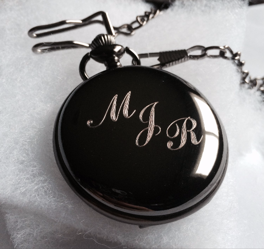 Groomsmen Gift Custom Black Pocket Watch Hand Wind Up with Vest Chain-Groomsmen gifts-Wedding Gift M029