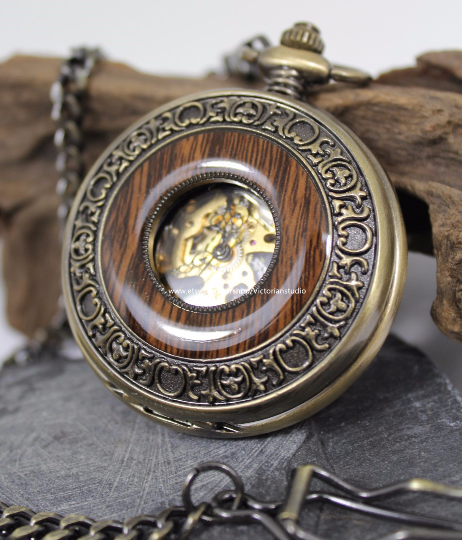 Groomsmen Gift Personalized Mens Pocket Watch Steampunk Mechanical Watch with vest chain Wedding gifts MPW007