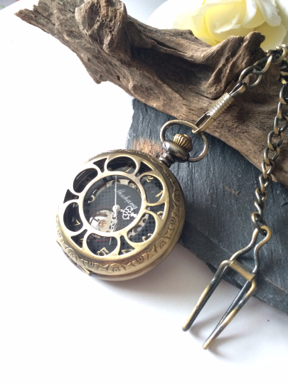 Mens Bronze Pocket Watch With chain Mechanical Personalized Engravable Groomsmen Gift MPW032