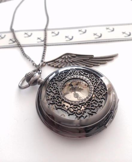 Steampunk Pocket Watch necklace with wing charm- noir black, groomsmen