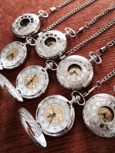 Steampunk Silver Pocket Watch with Fob Chain For him Father of the Bride