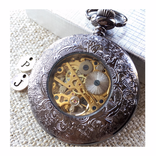 Father's Day Gift Pocket watch For Dad Father of the bride Mens Mechanical Black Pocket watch with chains Wedding gift MPW016