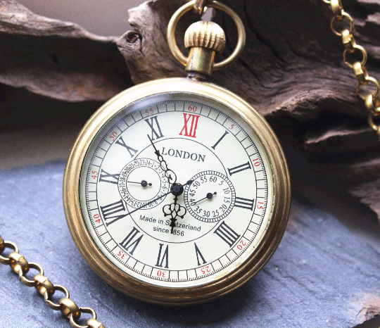 Premium Vintage-y pocket watch Gold Copper Antiqued Personalized Engravable Mens Watch VM010