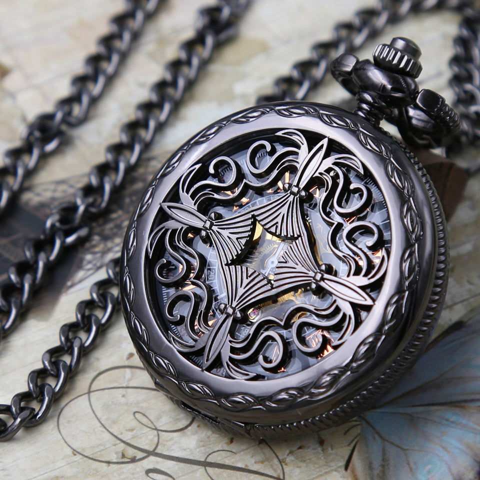 Personalized Pocket Watch - Mechanical Pocket watch with Vest chain- Celtic Love Knot - Steampunk Black Watch Groomsmen Gift VM006