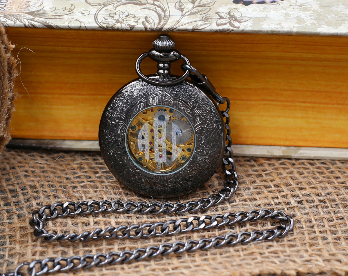Groomsmen Gift Personalized Pocket Watch Black Windup Mechanical Pocket Watch with Chain- Groomsmen gifts VM024
