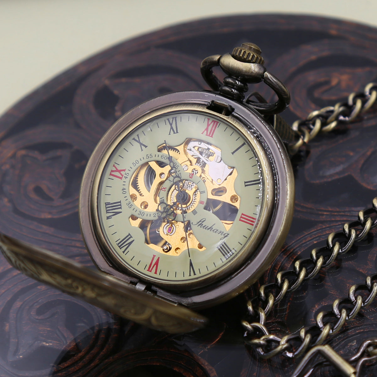Mens Personalized Pocket Watch with chain - Antique bronze - Steampunk - Mechanical watch WEDDING GIFT VM009