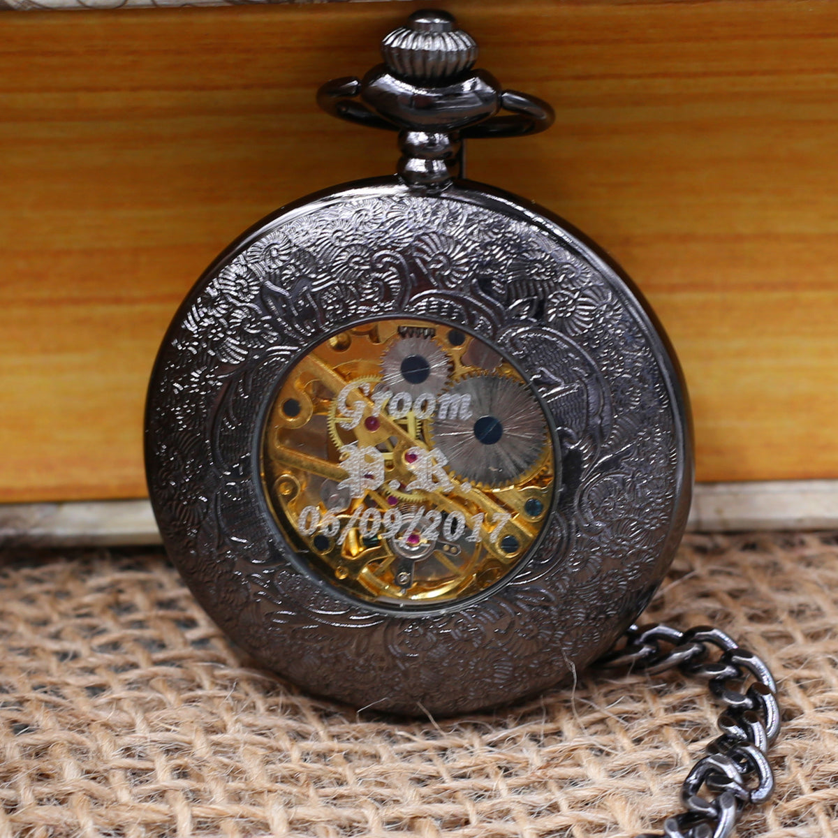 Classic Black Pocket Watch - Personalized Groomsmen Groom Gifts - Men Mechanical watch with chain Wedding - father of the Bride MPW022