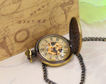 Gold Bronze Pocket watch Engravable Mechanical, Personalized Groomsmen Gifts Wedding Groom, Gift for him M35