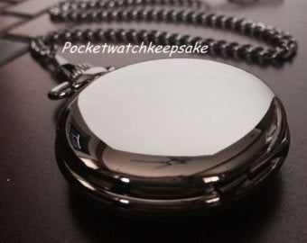 Perfect Groomsmen Gift Personalize Engraved Pocket Watch, Black QUARTZ Pocket Watch with Vest Chain- groomsmen  gifts VQ001