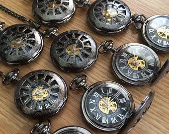 Wedding Party Gift Personalized Black Pocket watch Engravable Mechanical Mens Watch Gift For Him Personalized Groomsmen  Gifts  VM026