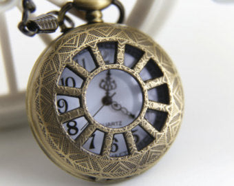 Antique Bronze Watch Necklace with Chain - Initial Letter Charms