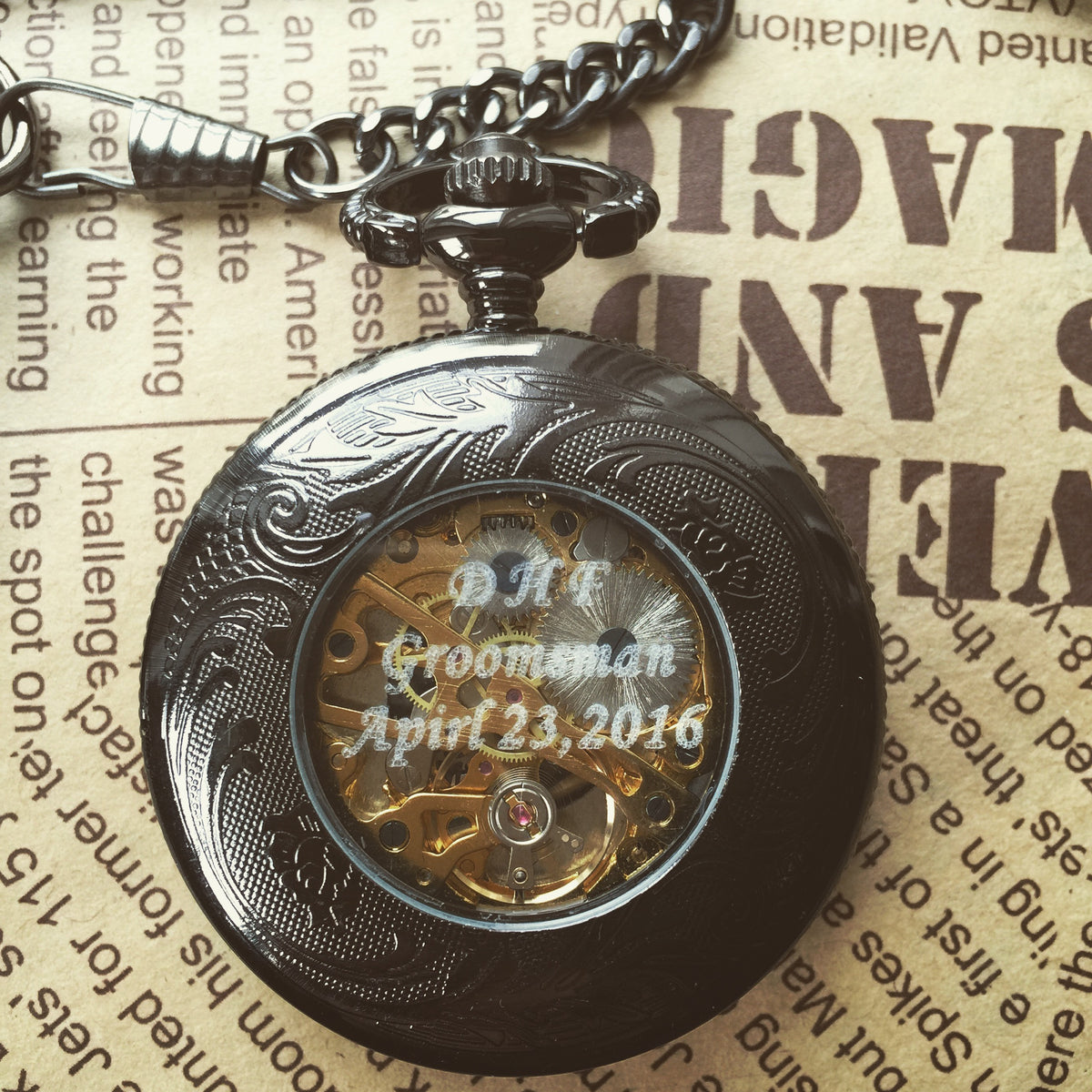 Mens Pocket Watch Personalized Engraveable Mechanical Pocketwatch with chain Sun Flames Gunmetal Black Groomsmen gift ideas VM008