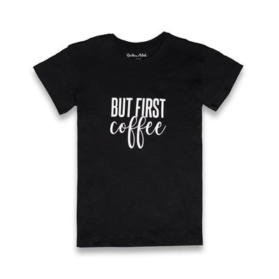Dritan Alsela But first Coffee Women Shirt Black