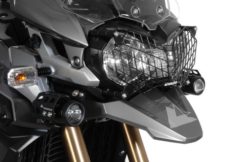 Stainless Steel Headlight Protector, black, with Quick Release Fastener for Triumph Tiger 800/XC/XCx and Tiger Explorer - Touratech