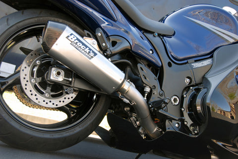 "CT Single Full System w/ 16"" QuietKore Muffler Hayabusa (08-20) - Brock's Performance"
