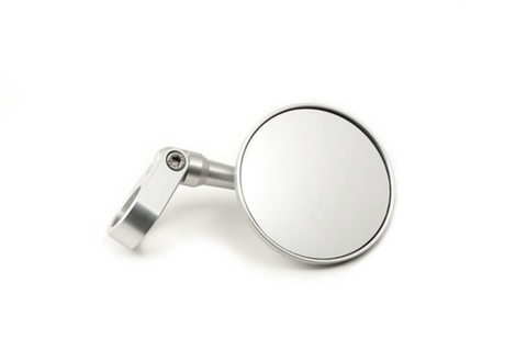 Bar end mirror round clamping on handlebar aluminium silver - Bike 'N' Biker