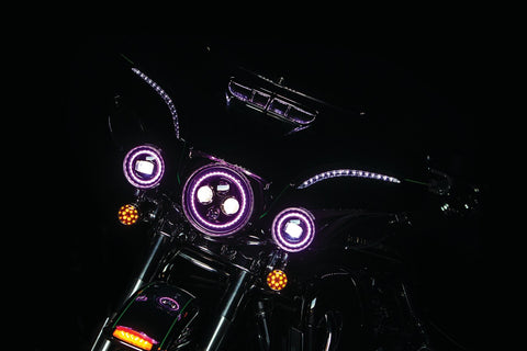 "Orbit Prism+ 7"" L.E.D. Headlight with Bluetooth Controlled Multi-Color Halo - Kuryakyn"