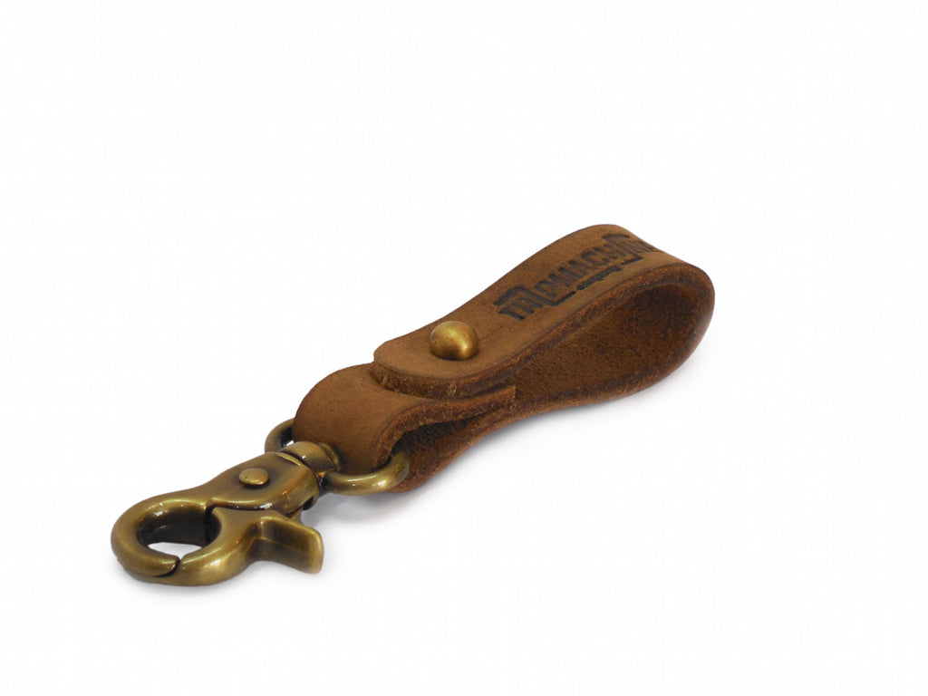 Leather Key Fob Raw and Antique Gold - Trip Machine Company - Bike 'N' Biker