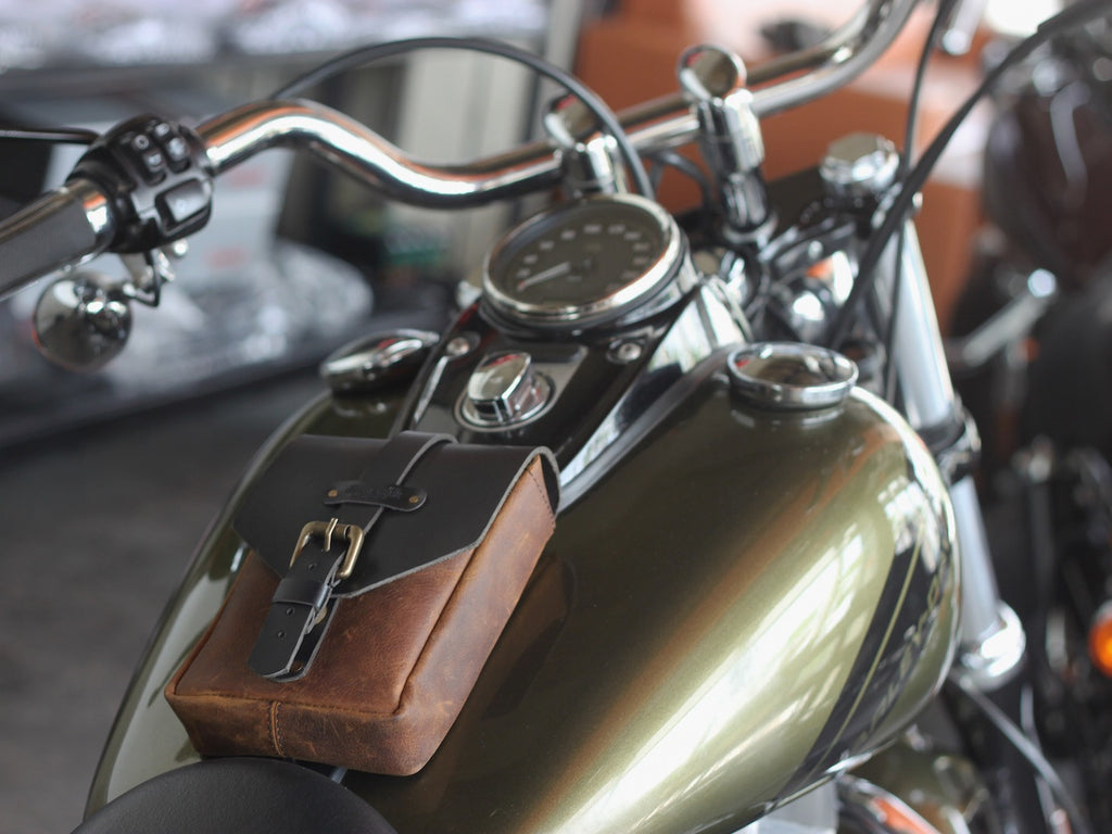 Leather Tank Pouch Tobacco - Trip Machine Company - Bike 'N' Biker