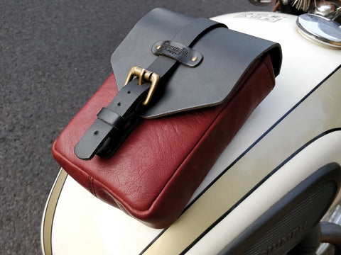Leather Tank Pouch Cherry Red - Trip Machine Company