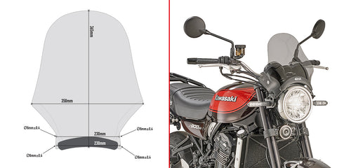 Universal Screen, smoked for Kawasaki Z900RS - Givi