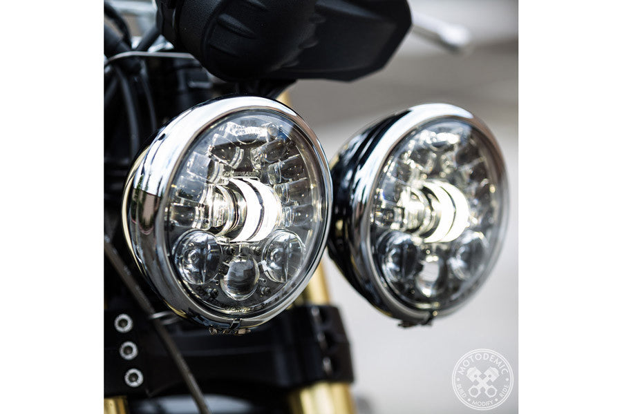 LED Headlight Dual Round Headlight LED JW Speaker USA - Bike 'N' Biker
