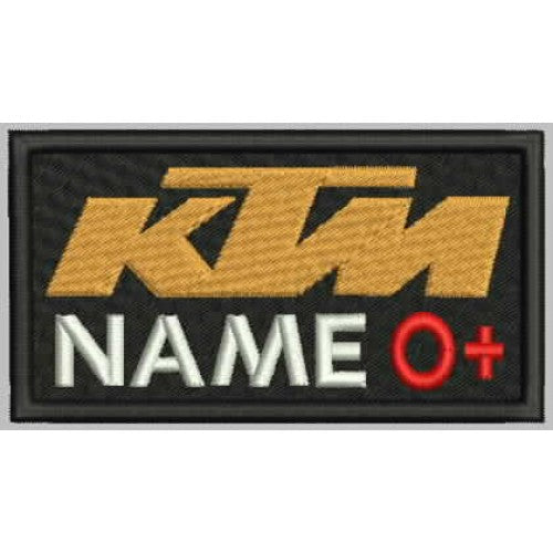 KTM Name and Blood Group Patch - Bike 'N' Biker