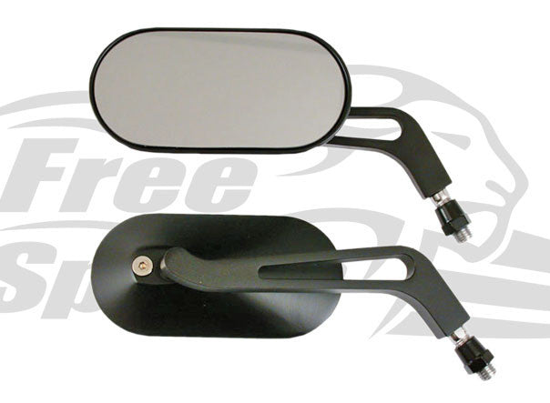 Mirror Set Oval (Black) - Freespirits - Bike 'N' Biker