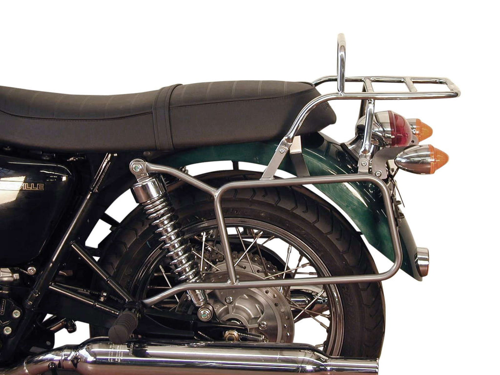 Triumph Bonneville T100/SE Sidecase and Topcase carrier in Chrome - Bike 'N' Biker