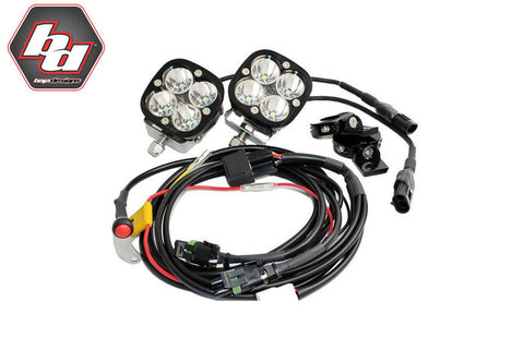 Aux LED Squadron Pro 4900 Lumens - Baja Designs (Wiring, Switch and Brackets) - Bike 'N' Biker