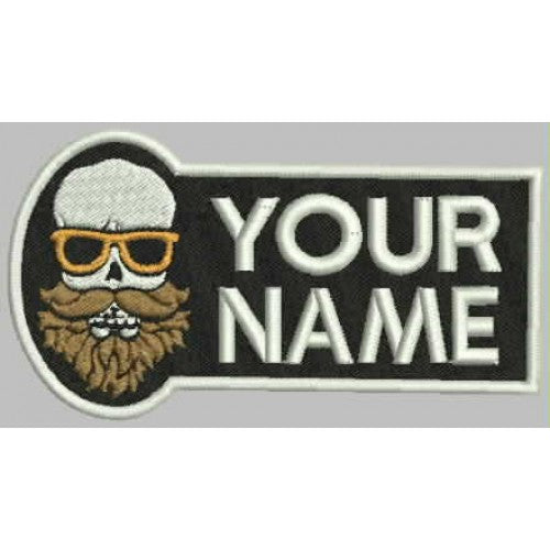 Bearded Skull Name Patch - Bike 'N' Biker